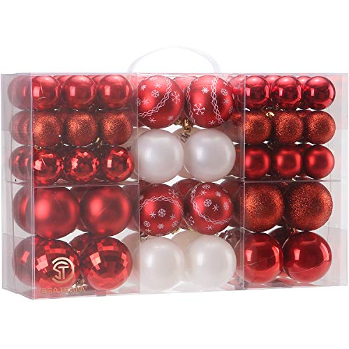 Sea Team 86 Pieces of Assorted Christmas Ball Ornaments Shatterproof Seasonal Decorative Hanging Baubles Set with Reusable Hand-held Gift Package for Holiday Xmas Tree Decorations, Red