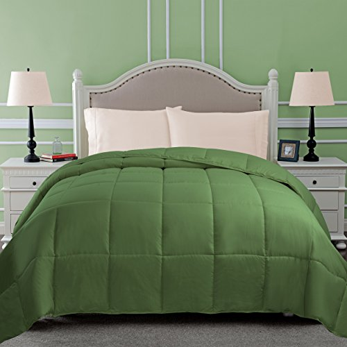 SUPERIOR Down Alternative Comforter - Bed Comforter, Medium-Fill Weight, All Season Comforter, Full/Queen, Terrace Green