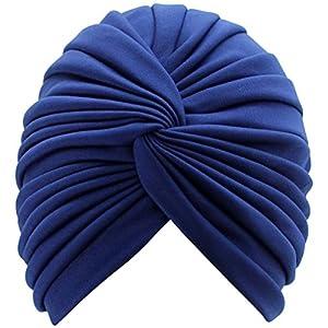 Radiant Navy Blue Pleated Turban Hat Head Cover Sun Cap