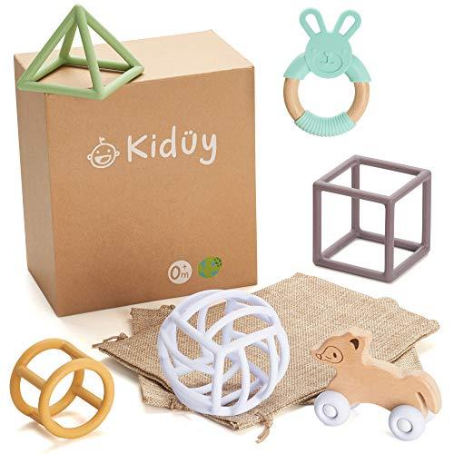 Kidüy Giochi Educativi Montessori per Bambini, Set per Lo Sviluppo Sensoriale in Legno e Silicone, Forme Geometriche, Auto e Anello per la Dentizione, Regalo per Neonato dai 3 Mesi ai 3 Anni