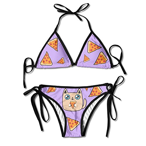 Women's Chubby Cat with Delicious Pizza Pattern Sexy Summer Bikini Two Piece Swimsuit