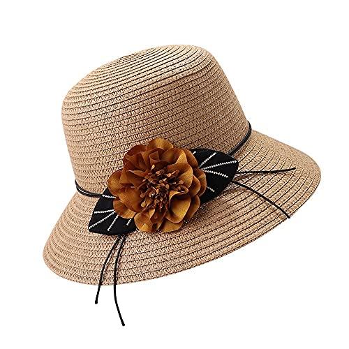 NEHARO Sombrero de Santa Unisex Santa Flor Sombrero de Paja Primavera Verano Playa Sol Sombrero señoras Pescador Sombrero protección Plegable UV Protección Sombrero de Verano Fedora Trilby