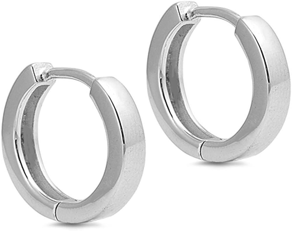 925 Sterling Silver Earrings Unisex Earrings Gifts For Unisex Square Hoop Earrings Hug Earrings Silver Flat Square Earrings 4mm Wide