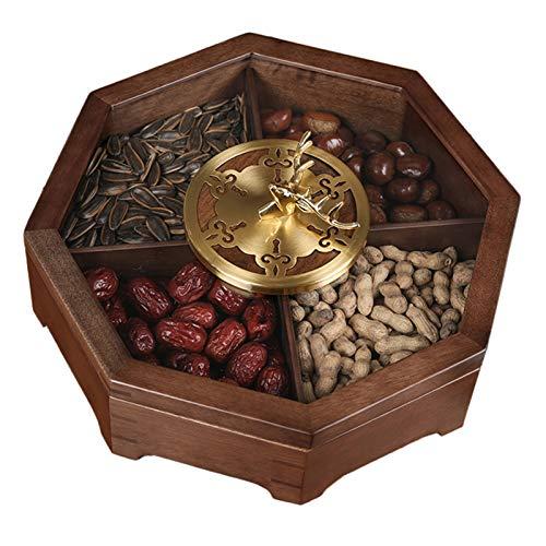 Lqdp Snackbox Candy Aufbewahrungsbox Holz Snack Box Candy Dish mit Klarem Fenster, Rustikalen Achteck Trockenfrüchten Servierplatte Hält Nussplätzchen und Kleine Schmuckstücke, 33x12cm