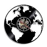 Alrededor del Mundo Mapa Reloj de Pared con Disco de Vinilo Decoración del hogar Reloj de Pared Silueta Reloj de Pared Mapa Global Regalo del Maestro