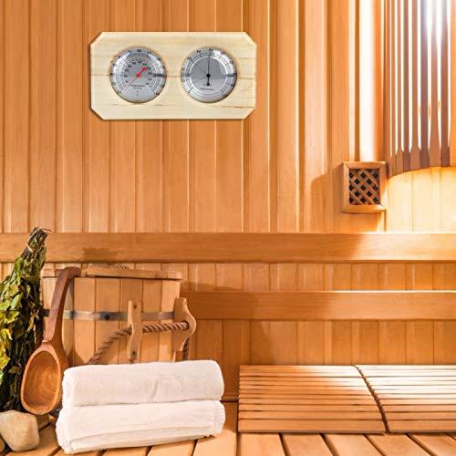 Emoshayoga Higrómetro de Sauna 2 en 1 Madera para Sala de Sudor