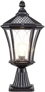Libuty Outdoor Post Lights Fixtures, Lantern Outdoor Bollard Lights Vintage Garden Floor Lamp E27 Patio Lawn Light Retro Cast Light Villa External Decoration Lighting Black and Bronze