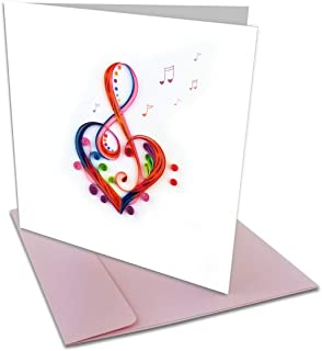 Love Song Treble Clef Heart Quilling Greeting Card, 6x6 with Envelope. Any Occasion. Blank Inside. Hand-Made. Suitable for...