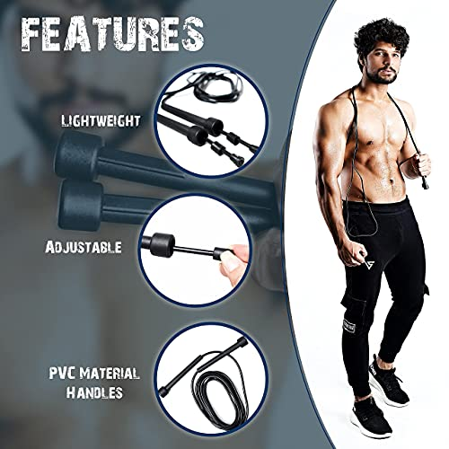 Muza Skipping rope adult for Home Exercise & Body Fitness men, women and kids   speed jumping rope with non slip handle   Adjustable skipping rope for Fitness, Fat Burning , Boxing, Crossfit and MMA