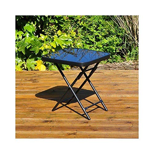 Unibos Garden Patio Side Table Folding Drinks Table Black Glass Top Outdoor Indoor