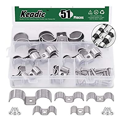 Keadic 51 Pack Stainless Steel Double Line Clamps Kit with 5 Different Metric Sizes, 8/10/14/16/25mm Multifunctional Pipe Clamps Perfect for Plumbing, Automotive and Mechanical Applications