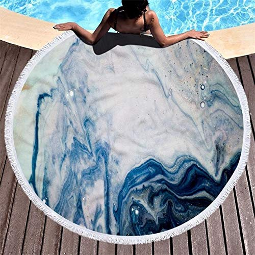 Mdsfe Abstrakte Marmor Textur Runde Strandtuch Mit Quaste Treibsand Gedruckte Kunst Mikrofaser Stranddecke Yoga Matten Durchmesser 150cm - 12, Durchmesser 150cm
