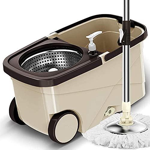Spin Mop Floor Cleaning Supplies - roestvrijstalen draaiende dweil en emmer met Wringer Home Automatisch Geen handwas Roestvrij staal MOP iteration