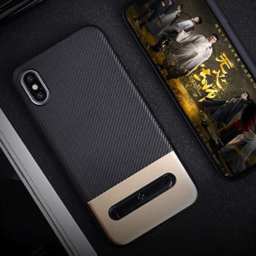 NOLOGO for iPhone X/XS TPU + PC Twill Textur Anti-Rutsch-Schutz Spiel Abdeckungs-Fall mit charismatischem Metall-Ring-Halter (Gold) Silikon-Anti-Scratch (Color : Gold)