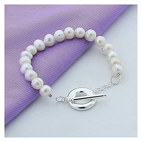 YURG Plata Natural Blanco Pulsera de la Perla de Agua Dulce para Las Mujeres Regalo de la Navidad del Partido de Compromiso de la Boda