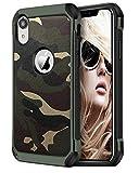 FDTCYDS iPhone xr hülle Shockproof Hybrid Rugged Camouflage Cover Handyhülle für Apple iPhone XR - Camo Grün