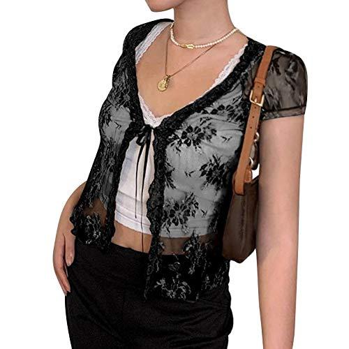 Damen-Strickjacke, durchsichtig, mit Spitze, kurzärmelig, Netz-T-Shirt, Y2K E-Girl, mit Aushöhlung Gr. S, Schwarz