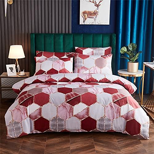 Shamdon Home Collection Ropa de cama de 155 x 220cm, diseño geométrico/mármol, funda de edredón y 1 funda de almohada de 80 x 80cm, 2 piezas, juego suave y mullido, con cremallera, color rosa