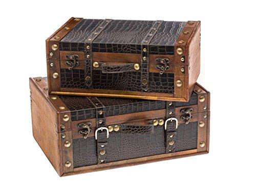 Juego de 2 cajas de madera - Maletas de la vendimia - Cofre de madera