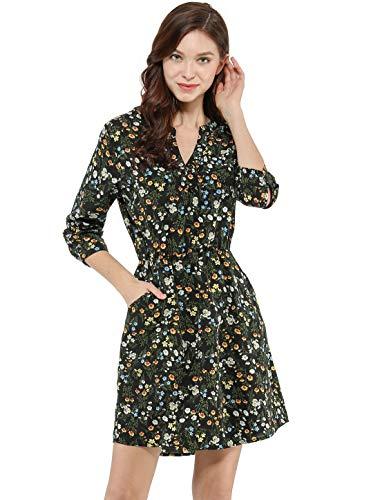 Allegra K Women's Button Down Floral Print V Neck 3/4 Sleeves Vintage Shirt Dress L Black