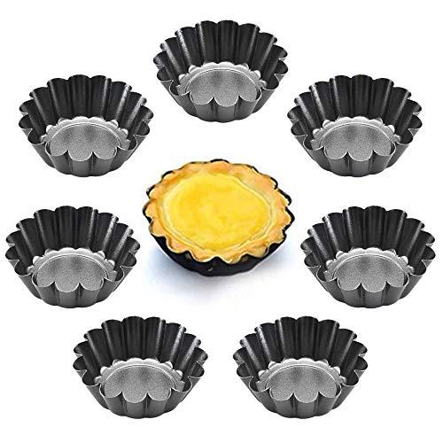 XGzhsa Eierkuchenformen, Verdickte Tortenformen, 8 Stück verdickte Mini-Tortenpfannen Backwerkzeuge für Eierkuchen-Muffin-Kuchen-Quiche, wiederverwendbar und antihaftbeschichtet(6,5 x 2,1cm)