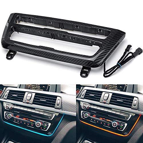 Braveking1 Panel de Consola Central del Coche Ambiente Interior Doble Marco de luz LED de Color para BMW Serie 3 Serie 4 3GT M3 M4 2012-2019 Aire Salida de Ventilación Marco de Cubiertas,Carbon Fiber