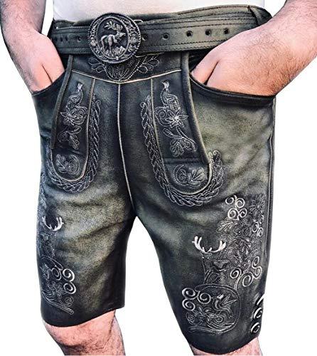 Trachten Kurze Herren Lederhose Bayerische Lederhose Oktoberfest Lederhose Gay Lederhose mit Lederhosen-Träger neu Größen 46 bis 64 (62)