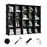 Greenstell Cube Storage Organizer, Plastic Modular Closet Organizer, 20-Cube Storage Cubes Organizer, Cube Storage Cabinet Book Shelf Shelving for Bedroom, Living Room, Office Black