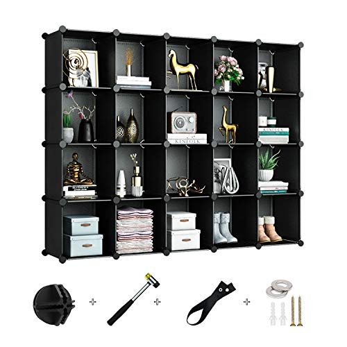 Greenstell 20 Cubes Storage Organizer,DIY Plastic Stackable Shelves Multifunctional Modular Bookcase Closet Cabinet for Books,Clothes,Toys,Artworks,Decorations (Black)