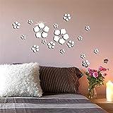 Nicole Knupfer 18 Stück 3D Blumen Wandtattoo Wandsticker Spiegel Aufkleber Wandaufkleber Wanddeko für Wohnzimmer Kinderzimmer Badezimmer Kühlschrank (A)