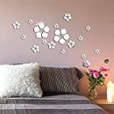 Nicole Knupfer 18 piezas 3D flores adhesivo de pared espejo adhesivo pared...