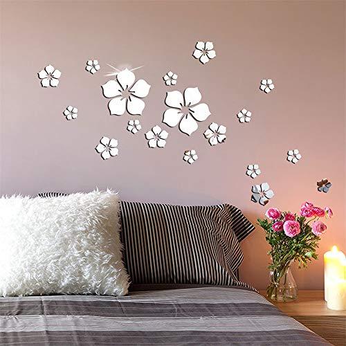 Nicole Knupfer 18 piezas 3D flores adhesivo de pared espejo adhesivo pared decoración para sala de estar, habitación de los niños, cuarto de baño, frigorífico (A)