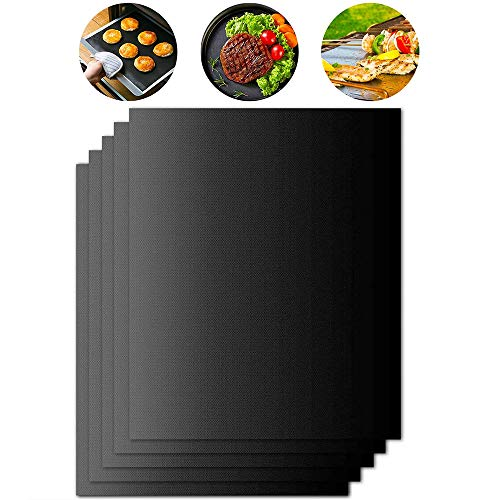 BBQ Grill Mat Set of 5,BBQ Grill Mats Non Stick Reusable Accessories for Gas, Electric, and Charcoal Grilling Sheets 40x33CM (Black)