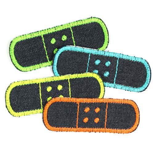Flickli Pflaster 3 x 8,3cm Bügelflicken Jeans einzel Set 4 Flicken zum aufbügeln blau neon