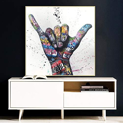 Victoria gesto Graffiti arte lienzo pintura carteles inspiradores e impresiones en la pared imagen artística para decoración de sala de estar 60x60 CM (sin marco)