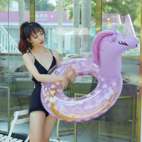SMEJS Riesiger Regenbogen Unicorn Pool Float Bunte Pegasus Frauen Schwimmen Ring Luftmatratze Ride-On Aufblasbare Wasser Spielzeug Piscina (Color : Purple)