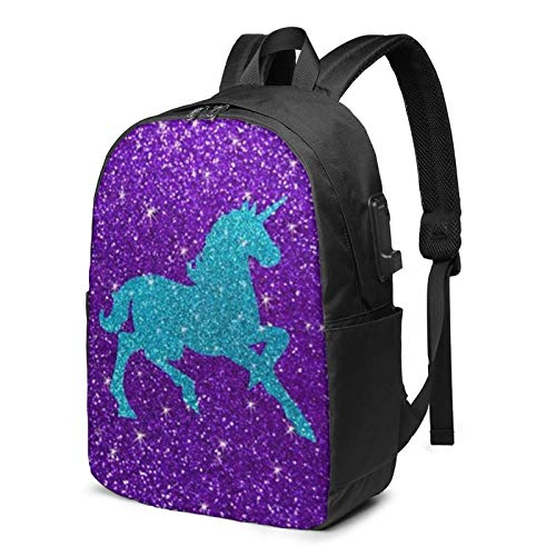 Dot Horse Unicorns Laptop Backpack 17 Inch with USB Charging Port Computer Bag