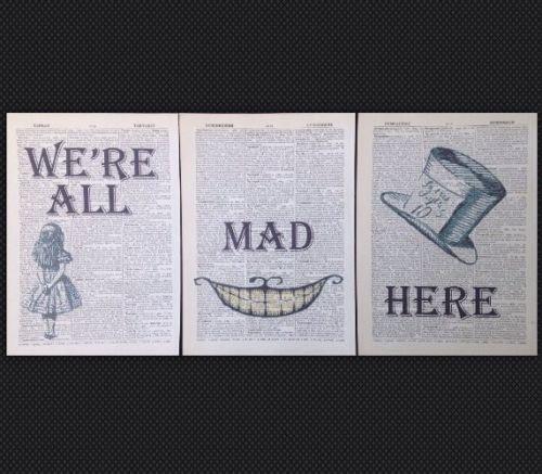 Parksmoonprints stampe artistiche su pagine di dizionario, stile vintage, motivo Alice nel paese della meraviglie, Cappellaio Matto, 3 pezzi [lingua italiana non garantita]