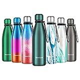 Newdora Botella de Agua Acero Inoxidable 500ml, Aislamiento de Vacío de Doble Pared, Botellas de...