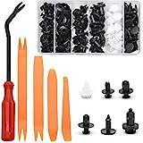 Juego de clips de fijación para coche, 100 unidades, color negro, universales, clips de fijación para parachoques, molduras de plástico, con 5 herramientas de desmontaje