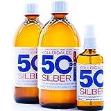 1100ml Plata coloidal PureSilverH2O / 2 x Botellas (cada 500ml/50ppm) Plata coloidal + Spray (100ml/50ppm) - 99,99% de plata pura - la mejor calidad - Made in Germany