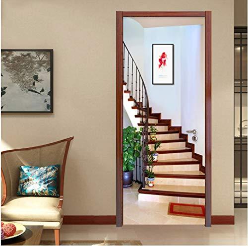 Door stickers door decals,Wall Door Sticker Modern Creative Spatial Expansion Stairs Wallpaper Self-Adhesive Waterproof 3D Door Murals Home Decals