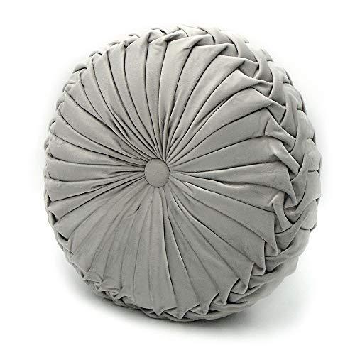 Blanc Mariclo Coussin Décoratif, Coussin Rond Velours Shabby Chic et Romantique - Plissé - Diamètre 40 cm - Gris - 100% Microfibre