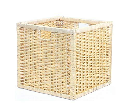 möbelklick24 2-er Set Rattankorb 32x32x32cm Regaleinsatz Aufbewahrung (Honig)