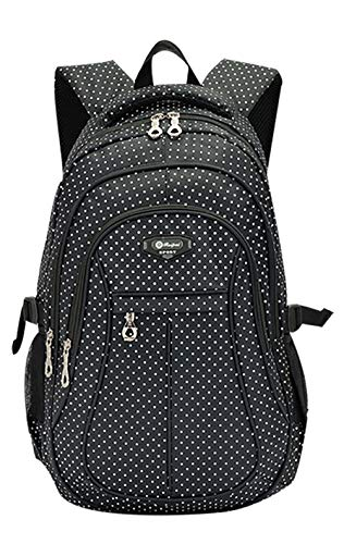 Girl Multipurpose Dot Primary Junior High University School Bag Bookbag Backpack (27 Liters, Black)