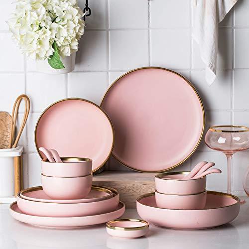 XCXDX 20 Piezas De Vajilla Rosa Dorada Romántica, Vajilla De Cerámica para El Hogar, Porcelana De Color Sólido Simple, Regalos De Inauguración
