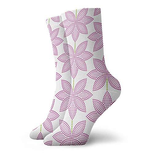 Calcetines de anime rosa de loto patrón de flores súper suaves de secado rápido transpirable calcetines deportivos unisex de la tripulación calcetines de 30 cm