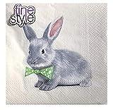 Fine Style - Tovaglioli di carta con coniglietto e fiocco verde, 40 ct