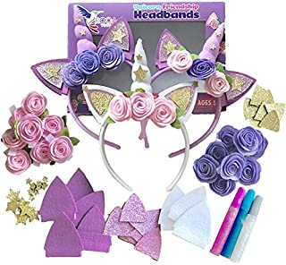 ROCA Toys Girls Unicorn Headbands Arts and Crafts Set - 70 Pieces Unicorn Headbands Kids Arts and Crafts Kit Unicorn Toy Arts and Crafts Birthday Gifts.