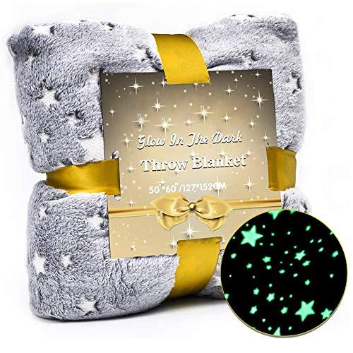 CAPMESSO Kuscheldecken mit Leuchtenden Sternen & Superweiche Flanelldecke Stern Krabbeldecke Weihnachten Geburtstag Geschenk für Mädchen Kinder Maße: 120 × 150 cm (Star Blanket)